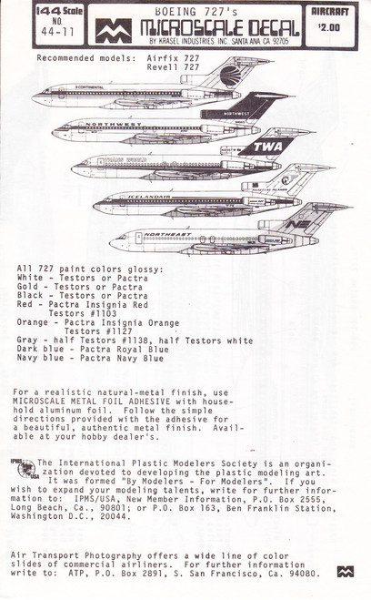 1/144 Scale Decal Continental / Northwest / TWA / Iceandair / Northeast 727