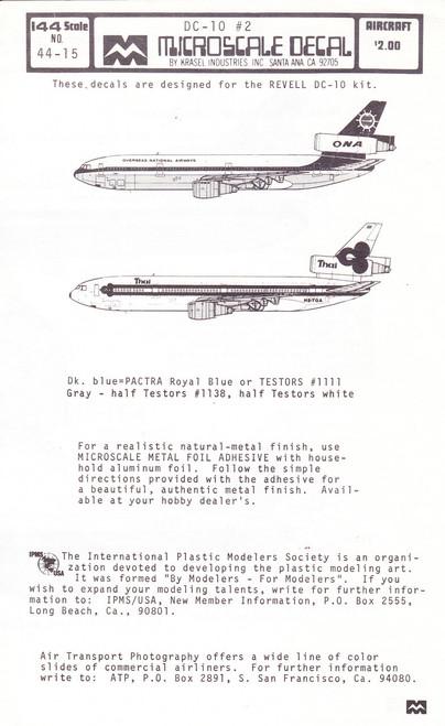 1/144 Scale Decal ONA / Thai Airways DC-10