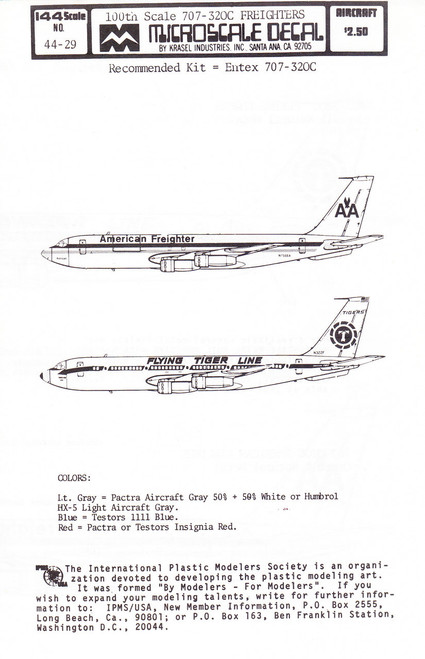 1/100 Scale Decal American Freighter / Flying Tiger Line 707-320C