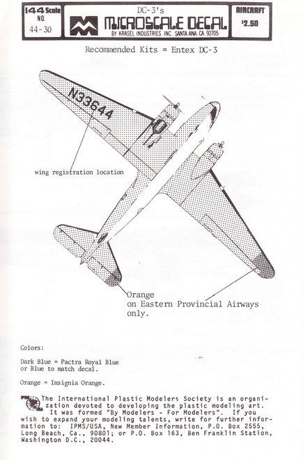 1/100 Scale Decal Delta / Western / Eastern Provincial Airways DC-3