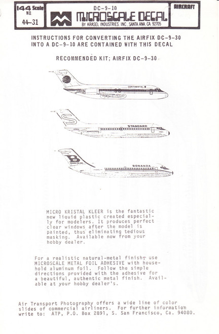 1/144 Scale Decal Continental / Standard / Bonanza DC9-10