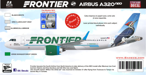 1/144 Scale Decal Frontier A-320 NEO Woodpecker