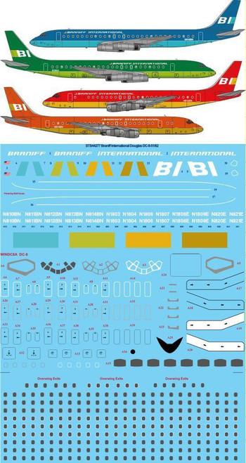 1/144 Scale Decal Braniff International Douglas DC-8-51 & 62