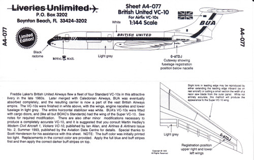 1/144 Scale Decal British United VC-10