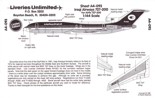 1/144 Scale Decal Saudia 727-200