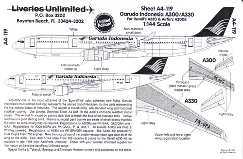 1/144 Scale Decal Garuda Indonesia A-300 / A-330
