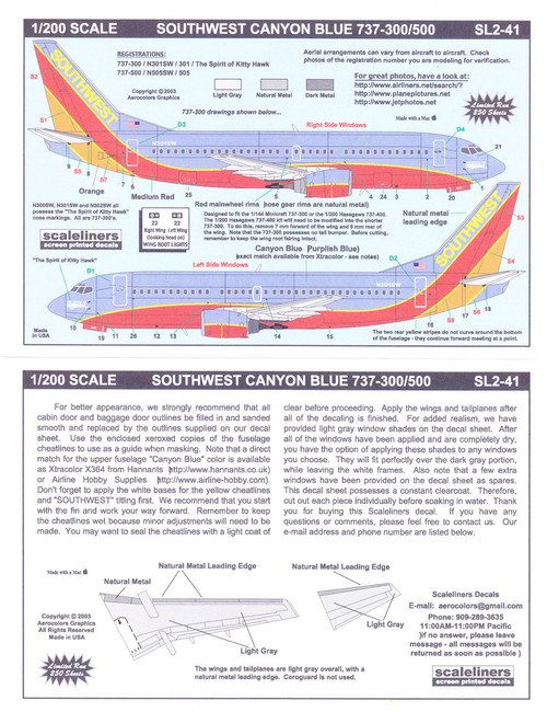 1/200 Scale Decal Southwest 737-300 / 500 Canyon Blue