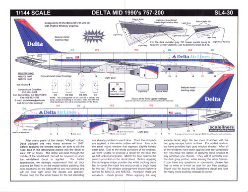 1/144 Scale Decal Delta 757-200 Mid 90's