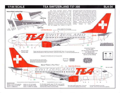 1/144 Scale Decal TEA of Switzerland 737-300