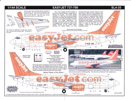 1/144 Scale Decal easyJet.com 737-700