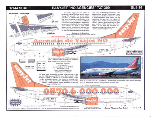 1/144 Scale Decal easyJet 737-300 No Agencies