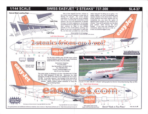 1/144 Scale Decal easyJet.com 737-300 2 Steaks