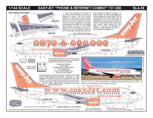 1/144 Scale Decal easyJet.com 737-300 Phone & Internet Combo
