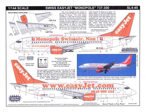 1/144 Scale Decal easyJet.com 737-300 Monopole