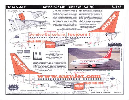 1/144 Scale Decal easyJet.com 737-300 Geneve