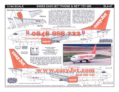 1/144 Scale Decal Swiss easyJet.com 737-300 Phone & Net