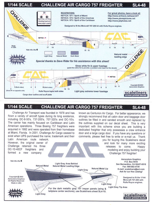 1/144 Scale Decal Challenge Air Cargo 757 Freighter