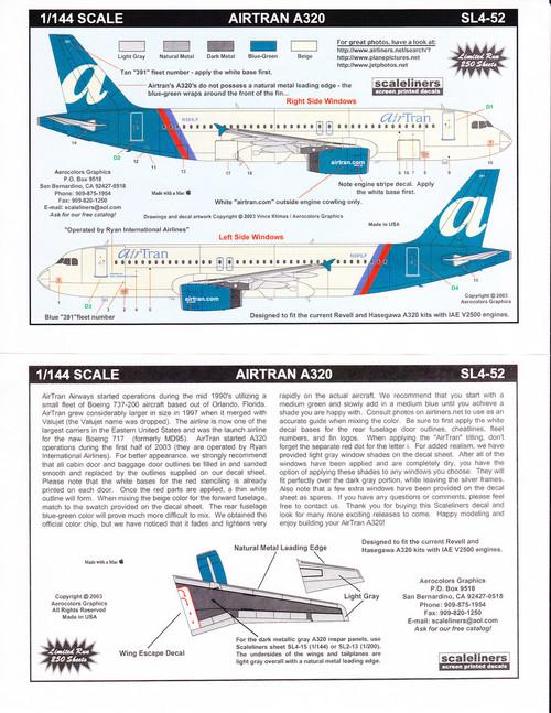1/144 ScaleDecal AirTran A-320