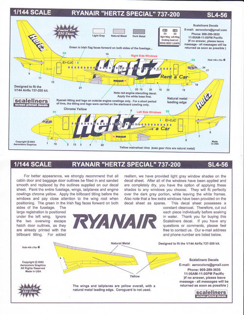 1/144 Scale Decal Ryanair 737-200 Hetrz Special