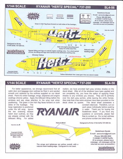 1/144 Scale Decal Ryanair 737-200 Hetrz Special