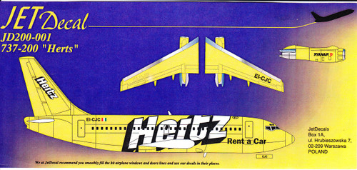 1/200 Scale Decal Ryanair 737-200 Hertz