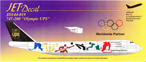 1/144 Scale Decal UPS 747-200F Olympics