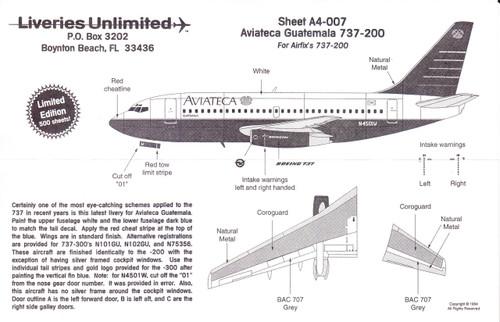 1/144 Scale Decal Aviateca 737-200