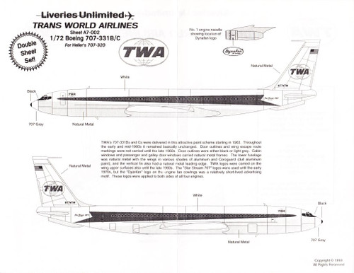 1/72 Scale Decal TWA 707-331B/C Twin Globe