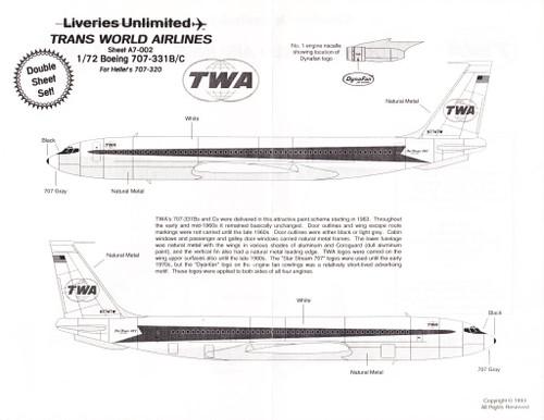 1/72 Scale Decal TWA 707-331B/C Twin Globe