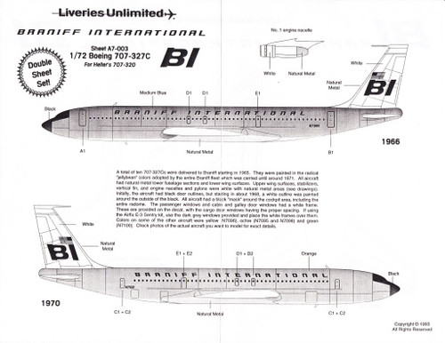 1/72 Scale Decal Braniff International 707-327C