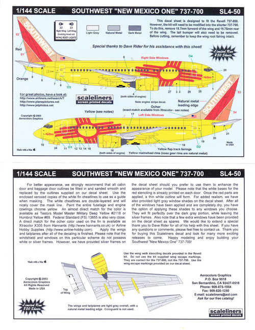 1/144 Scale Decal Southwest 737-300 New Mexico One
