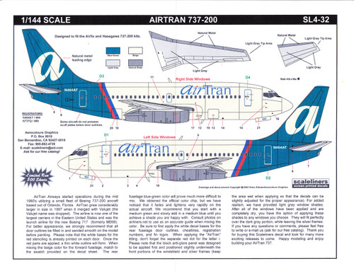 1/144 Scale Decal Airtran 737-200