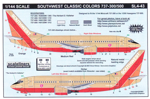1/144 Scale Decal Southwest 737-300 / 500 Classic