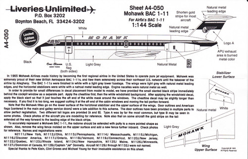 1/144 Scale Decal Mohawk BAC-111