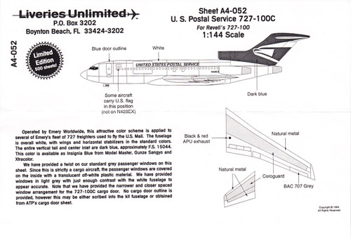 1/144 Scale Decal United States Postal Service 727-100C