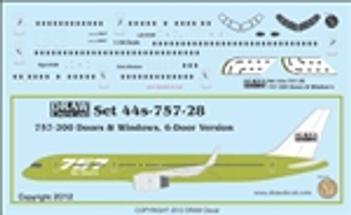 1/144 Scale Decal 757-200 Cockpit / Windows / 6 Door Version