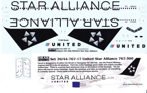 1/144 Scale Decal United 767-300 STAR ALLIANCE