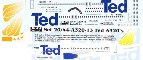 1/144 Scale Decal TED A-320