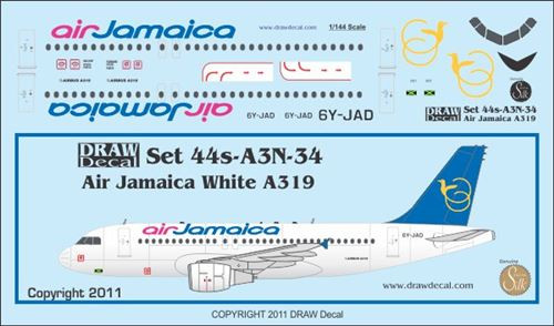 1/144 Scale Decal Air Jamaica A-319