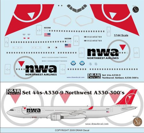 1/144 Scale Decal Northwest A330-300
