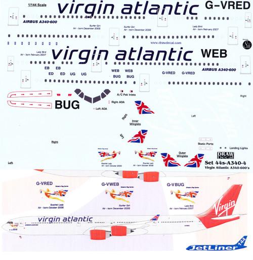 1/144 Scale Decal Virgin Atlantic A340-600