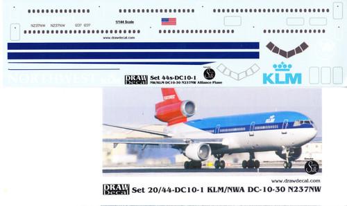 1/144 Scale Decal Northwest / KLM DC-10 Hybrid