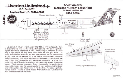 1/144 Scale Decal Mexicana F-100 Green