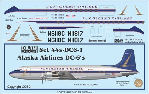 1/144 Scale Decal Alaska Airlines DC-6