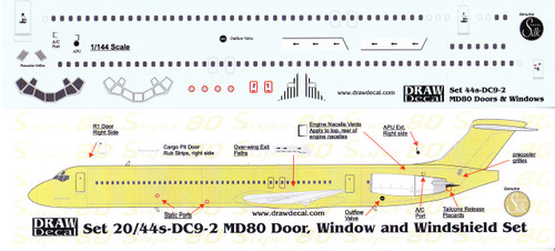 1/144 Scale Decal MD-80 Cockpit / Windows / Doors & Details