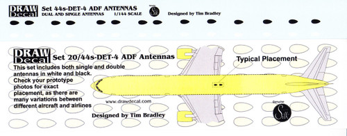 1/144 Scale Decal ADF Antennas
