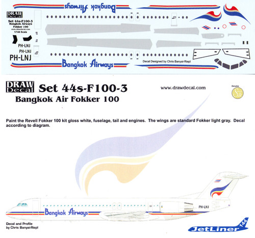1/144 Scale Decal Bangkok Airways F-100