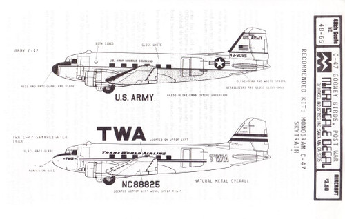 1/48 Scale Decal TWA / US Army C-47