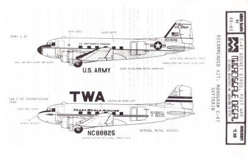 1/48 Scale Decal TWA / US Army C-47