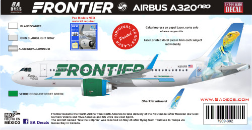 1/144 Scale Decal Frontier A-320 NEO Sunny the Lizzard
